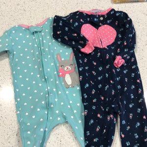 12 month Carters footsie pajamas.